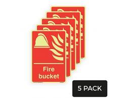Feuereimer, leuchtet im Dunkeln, Vinyl-Aufkleber, 200 mm x 300 mm, A4, 5 Stück