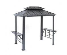 Sojag Aluminium Pavillon Überdachung BBQ Messina // 179x292 cm // Grillpavillon und Gartenlaube mit Hard-Top Dach und Abstellfläche