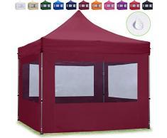 TOOLPORT Faltpavillon Faltzelt 3x3m - 4 Seitenteile ALU Pavillon Partyzelt rot Dach 100% WASSERDICHT