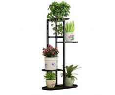 Seciie Blumentreppe aus Metall, Blumenständer mit 4 Ebenen Pflanzenregal für innen und außen Garten Balkon, 45 x 22 x 83cm - Schwarz