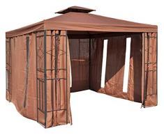habeig Pavillon Seitenteile BRAUN mit Fenster & Reißverschluß an JEDER Seite Pavillion grau
