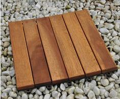 SAM® Sparset: Akazienholz Balkonfliese 01 mit 11 Terrassenfliese ca. 30 x 30 cm für ca. 1 m²