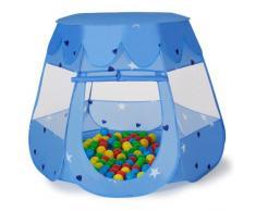 TecTake® Kinderspielzelt Pop Up Spielhaus Kinderzelt mit Bällebad 100 Bälle + Tasche blau