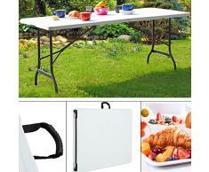 Deuba Gartentisch Klapptisch Klappbar 240x70 cm mit Tragegriff Kunststoff Tisch für 8 Personen Buffettisch Partytisch Weiß