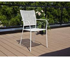 greemotion Metall-Stapelstuhl Mykonos in Weiß pulverbeschichtet - Gartenstuhl stapelbar - Balkonstuhl aus Stahl - Stapelsessel mit Armlehne - Bistrostuhl zum Stapeln - Stuhl für Garten, Terrasse & Balkon