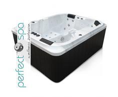 perfect-spa Whirlpool Atlanta Indoor / Outdoor 4 Personen Whirlpools Aussenwhirlpool Hot Tub Spa Außenwhirlpool Baboa Steuerung (Wanne SkyBlack, Außenverkleidung Schwarz)