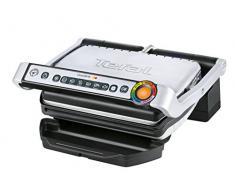 Tefal OptiGrill GC702D Kontaktgrill (für ideale Grillergebnisse, 2.000 Watt, Standard-Modell, automatische Anzeige des Garzustands, 6 voreingestellte Grillprogramme) 30 cm x 20 cm, schwarz/edelstahl