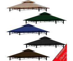 freigarten.de Ersatzdach für Pavillon Grill 2.4[m] x 1.5[m] Meter Sand Antik Pavillon Wasserdicht Material: Panama PCV Soft 370g/m² extra stark Modell 11 (Grün)