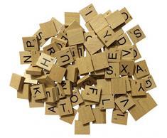 Generic Scrabble-Holzspielsteine, lackierte Steine, für Gesellschaftsspiele/ Bastelarbeiten/ Schmuckherstellung, 100 Stück