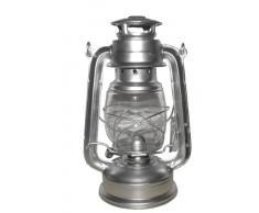 Favorit 2037S Sturmlaterne 25 cm Silber; gemütliche Gartenlaterne mit einstellbarer Dochthöhe; zum Befüllen mit Lampenöl; inkl. Bügel zum Tragen und Aufhängen; nach DIN 14059
