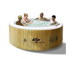 COSTWAY Whirlpool Aufblasbar, Massage Spa Pool √Heizfunktion √4 Personen √In-Outdoor √Komplettset √Ø180cm √rund (Beige)