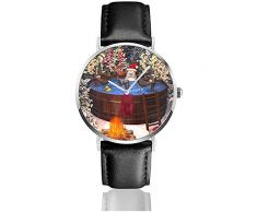 3D-Cartoon-Illustration mit Santa Claus und Mehreren Rentieren in einem Outdoor-Whirlpool Herren Lederarmband Uhren Wrist Casual Watch