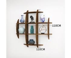 JCRNJSB® Regal, Regal, Massivholz Chinesische Wandbehang Schatz Pavillon Wand Tee Regal Wand Wohnzimmer Dekoration Antik Rack 90 * 60 cm Kann abnehmbar aufbewahrt werden Regal Regal Büc ( Farbe : #3 )
