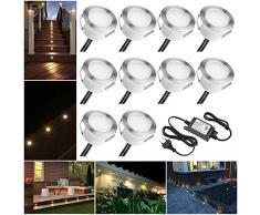 10er Set Led Bodeneinbauleuchten Aussen DC12V 1W Ø45mm IP67 Wasserdicht LED Terrassen Einbaustrahler Terrasse Küche Garten Einbauspots Warmes Weiß