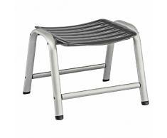 Kettler Hocker Wave – formschöner Sitzhocker für Garten, Terrasse und Balkon – wetterfester Fußhocker für Relaxstuhl und Gartenliege – aus Aluminium und KETTALUX-Kunststoff – silber & anthrazit