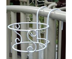 Balkonpflanze Eisen Hanging Racks Runden Blumentopf-Rack Geländer Zaun Draussen Weiß