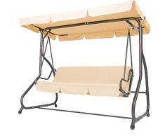 Miadomodo Hollywoodschaukel Gartenschaukel Schaukel Gartenmöbel 3-Sitzer mit Bettfunktion inkl. Sitzauflage in der Farbe Ihrer Wahl