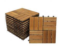 SAM Terrassenfliese 02 Akazienholz, 11er Spar-Set für 1m², 30x30 cm, Garten klick-Fliese FSC®100%, Bodenbelag, Drainage