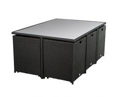 Ultranatura Poly-Rattan Lounge-Set, Palma-Serie 11-teilig (1 Tisch + 6 Sessel + 4 Hocker inklusive Auflagen)