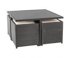 Ultranatura Poly-Rattan Lounge-Set, Palma-Serie 9-teilig / Tisch + 4 Sessel + 4 Hocker inkl. Auflagen