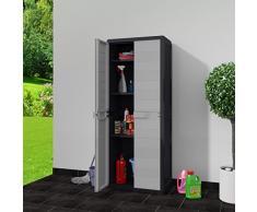 Tidyard Gartenschrank mit 3 Regalböden Schwarz und Grau Möbel Schränke Aufbewahrungsschränke & Schließfächer