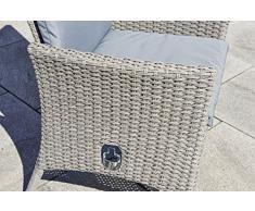 greemotion Sessel Malmö grau, inkl. Auflagen, stufenlos verstellbare Rückenlehne, Gartenstuhl aus robustem Polyethylengeflecht, hochwertiges Aluminiumgestell, witterungsbeständig und pflegeleicht