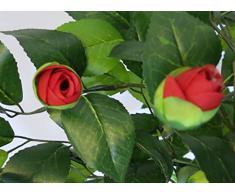 Kunstbaum Kamelie mit Echtholzstamm in zwei verschiedenen Größen und mit unterschiedlichen Blütenfarben - Kunst-Kamelie - Kunstpflanze - Deko-Baum - künstlicher Baum (690 Blatt - ca. 135cm hoch, rote Blüten)