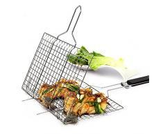 SUNRIS Antihaft-Grill Rack Outdoor-Camping Grill Rack BBQ-Clip-Ordner Grill Braten Ordner Korb Werkzeug Fleisch Fisch Gemüse BBQ-Tool