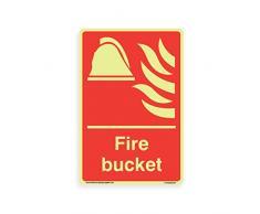 Feuereimer – leuchtet im Dunkeln [nachleuchtendes 1,5 mm starres Kunststoff-Schild, 200 mm x 300 mm – A4
