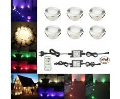 SUBOSI RGBWW (4 in 1) 1.2W LED Bodeneinbauleuchten Ø61mm Einbaustrahler LED DC12V Boden Licht IP67 Wasserdicht Einbauleuchten Außen Terrasse Garten Led Lampe