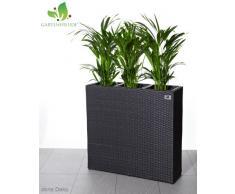 GARTENFREUDE Pflanzkübel Pflanzgefäße Blumenkübel Blumentopf für Blumen etc. Raumteiler Polyrattan inkl. 3 Kunststoffeinsätze für innen und außen, anthrazit, 76x26x73cm (BxTxH)