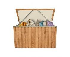 Metall-Gerätebox Kissen-Box Garten-Schrank 1450 Liter Gartentruhe in Eiche Holz-Optik