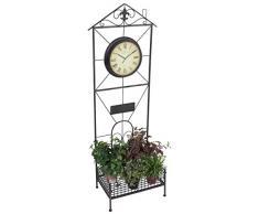 Metall Pflanzregal Uhr Standregal Pflanztisch Garten Regal Terrasse Balkon Deko