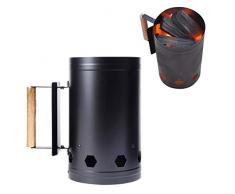 Outdoor-Grill-Werkzeug Schnell Charcoal Zündschloss Carbon-Herd Aussen Barbecue-Feuer-Starter Eimer Kohle-Ofen Sicher Picknick (Color : Black)