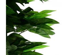Nexos Künstlicher Mango-Baum Kunstpflanze Kunstbaum mit vielen Zweigen Echtholz-Stämmen und Topf - Gesamthöhe 180 cm – grün braun