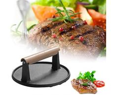 xxz Gusseisengrill, Hochleistungs-Steak-Burgerpresse, runde Speckpresse mit Holzgriff, für Speckburger Flat Top Griddles Grills Skillets