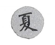 Step - Stone, Trittstein aus Granit grau mit Schriftzeichen auf der Oberseite, ca. 30-35 cm Durchmesser, ca. 4-6 cm dick,