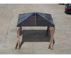greemotion Pavillon Hardtop Graz anthrazit, inkl. Seitenteile, Partyzelt mit dunklem, lichtdurchlässigen Dach aus Polycarbonat-Platten, besonders robust, Maße: ca. 300 x 300 x 270 cm