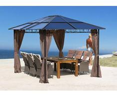 QUICK STAR Metall Garten Hardtop Pavillon 3x3,6m Doppelstegplatten Polycarbonat Dach Partyzelt Pergola