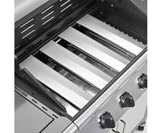 TAINO® Gasgrill BBQ Grillwagen 4 Edelstahl-Brenner 1 Seitenkocher Gas-Grill TÜV Farbe Silber / Anthrazit (4+1)