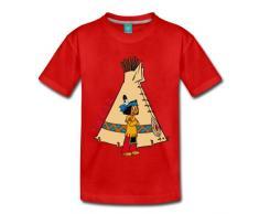 Spreadshirt Yakari vor Indianerzelt Kinder Premium T-Shirt, 110/116 (4 Jahre), Rot