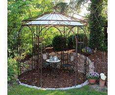 ELEO Milano wunderschöner Gartenpavillon rund romantischer Rosenpavillon aus Metall I Durchmesser 2,9 m I Rundpavillon Design roh Edelrost I Pavillon für Garten