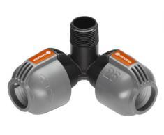 GARDENA Sprinklersystem Winkelstück für Außengewinde: Verbindungsstück für Anschluss im Eckbereich von Turbinen-Versenkregner T 380, 25 mm x 3/4, Quick&Easy Verbindungstechnik (2783-20)