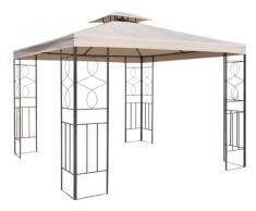 Pavillon / Gartenpavillon 300x300cm Metall schwarz/beige