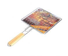 1 Stück Grill Fish Clip Edelstahl Holz Handle Barbecue BBQ Fischbräter Grillkorb Faltbares Design Für Roast Fisch Gemüse Shrimps Meeresfrüchte