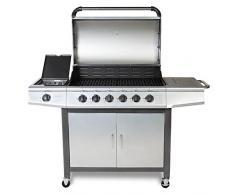 TAINO® Gasgrill BBQ Grillwagen 6 Edelstahl-Brenner 1 Seitenkocher Gas-Grill TÜV Farbe Silber / Anthrazit (6+1)