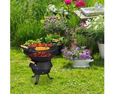 Relaxdays, schwarz Grillfass Gusseisen, höhenverstellbarer Grillrost, Belüftung, Fassgrill für Holzkohle, HBT 40x45x36cm