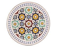 albena Marokko Galerie 15-147 Lisu Marokkanischer Mosaiktisch 60cm rund (Lisu weiß/blau/bunt)