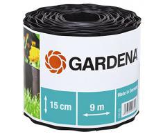 GARDENA Raseneinfassung 15 cm hoch: Ideale Rasen-Abgrenzung, auch für Beete, 9 m, verhindert Wurzelausbreitung, Kunststoff, braun (532-20)