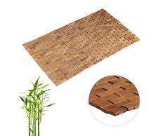 Relaxdays Bambusmatte, aufrollbar, Gummistopper, hygienisch, feuchtigkeitsbeständig, Fußmatte innen, 50 x 80 cm, Natur, Bambus